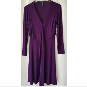 Lauren Ralph Lauren 8P purple faux wrap dress